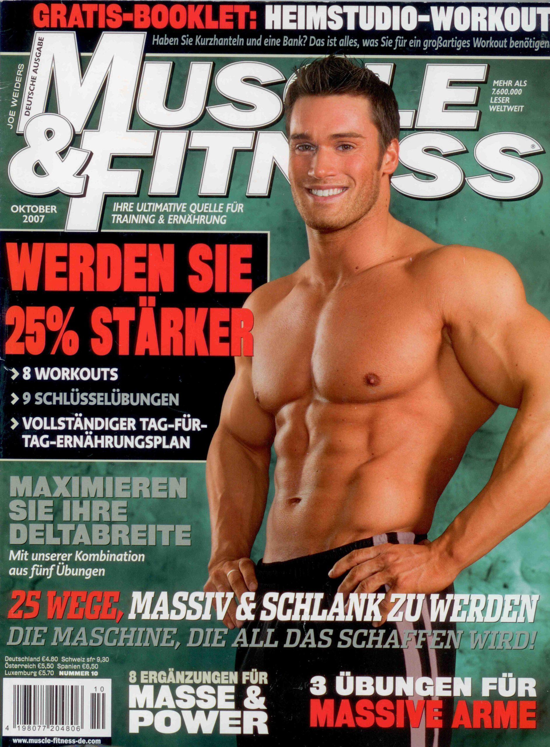 Coverbild Sportmagazin Muscle & Fitness nackter Oberkörper Mann